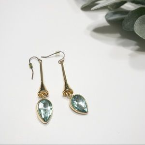 Gold earrings with teal stone